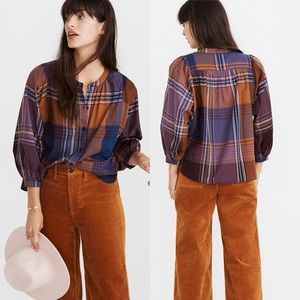 Madewell || NWOT Plaid Peasant Top Size XS
